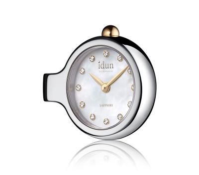 Pendant Charm-Watch mit Perlmutt Zifferblatt, weißen Steinen und zweifarbigem Gehäuse - DCW2200