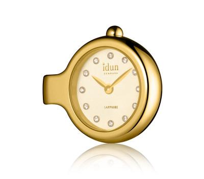 Pendant Charm-Watch mit Champagner-Zifferblatt, vergoldetem Gehäuse und weißen Steinen - DCW3300