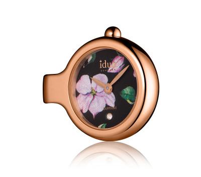 Pendant Charm-Watch mit Blumenmuster Zifferblatt, rosévergoldetem Gehäuse und einem weißen Schmuckstein – DCW4420