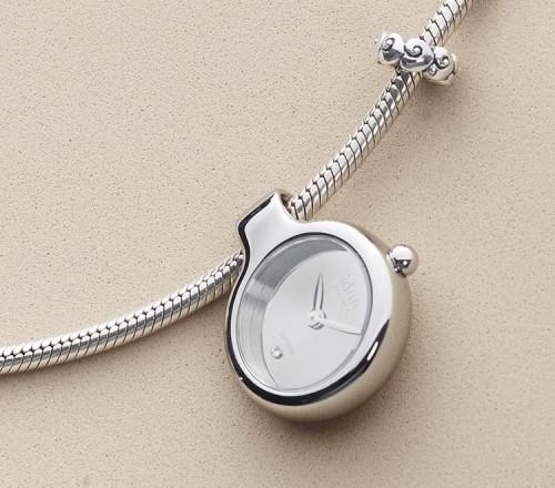 Pendant Charm-Watch mit Spiegel-Zifferblatt und einem weißen Stein - DCW1100
