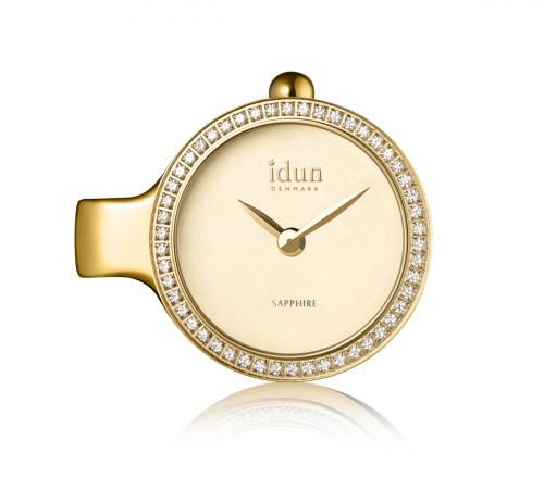 Pendant Charm-Watch mit Champagner-Zifferblatt, vergoldetem Gehäuse und weißen Steinen - DCW3300CZ